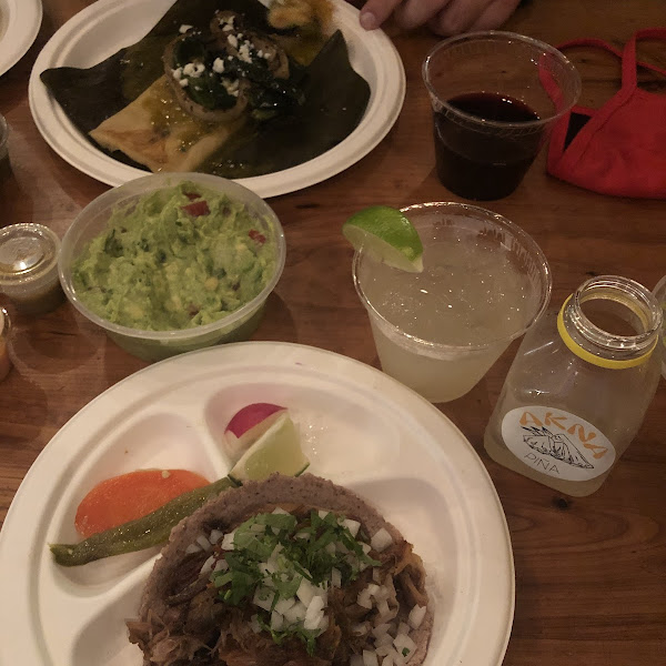 Carnitas taco; veggie tamal