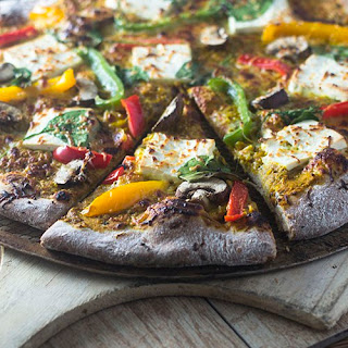 Indian Paneer Yellow Curry Pizza.