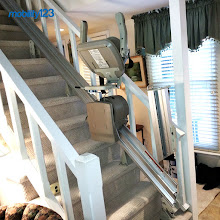 Photo: This is a #Stairlift  with a hinged-rail system. It's great for homes that have high foot traffic around the lower landing. #SafeLiving   #FallPrevention