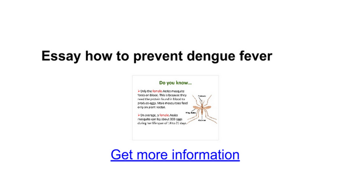 essay how to prevent dengue fever google docs
