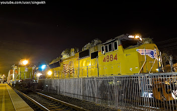 Photo: Union Pacific 4884 with UP 4014 Big Boy Steam Locomotive, UP 3105 (SD40-2) at Metrolink Covina Station.