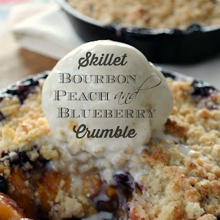 Skillet Bourbon, Peach and Blueberry Crumble! Recipe