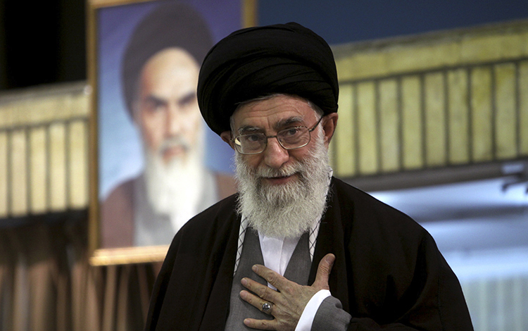 SUPREME LEADER: Ayatollah Ali Khamenei, shown at a 2009 clerical gathering, oversees an organization called Setad that has assets estimated at about $95 billion. REUTERS/Khamenei.ir/Handout