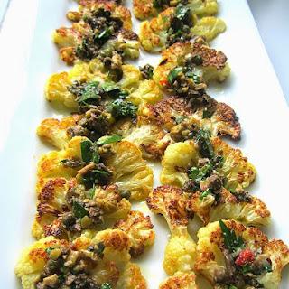 Roasted Cauliflower w/ Gremolata or Salsa Verde