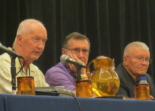 Photo: Day 3 ... beginning with the morning Apollo panel! McDivitt, Gordon & Haise weigh in on the state of the NASA budget. Don't look very cheerful, do they!