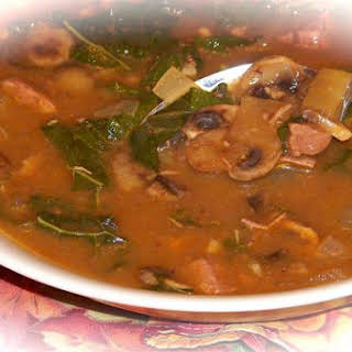 Hearty Beef and Mushroom Soup.