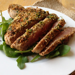 Marinated Tuna Steak with a Sesame Crust.