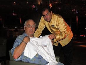 """Photo: Brian wins a """"T"""" shirt at Trivia"""