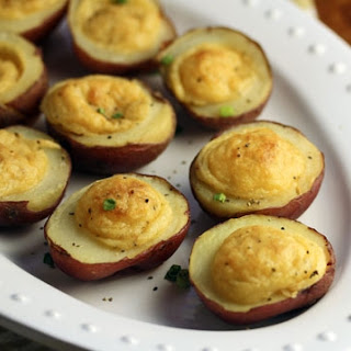 Lentil And Goat Cheese Stuffed Baby Potato Appetizers.