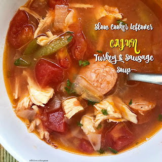 Slow Cooker Leftover Cajun Turkey & Sausage Soup.