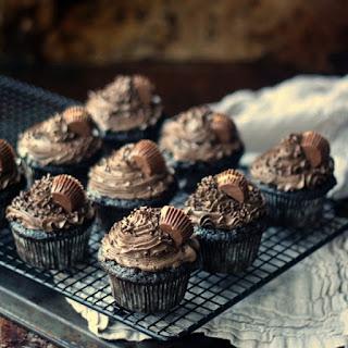 Peanut Butter Cup Stuffed Dark Chocolate Cupcakes