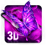 3D Neon Galaxy Butterfly Icon