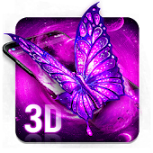 3D Neon Galaxy Schmetterling