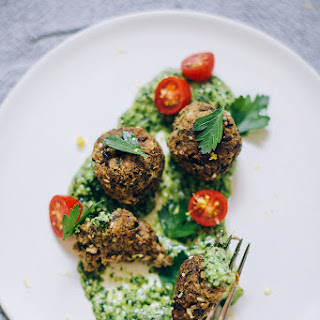 Eggplant Meatballs With Za'atar And Kale Pesto
