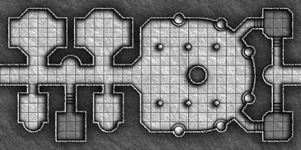Photo: Here's the first map (with room numbers removed) from my new #dungeon-monthly project (which is kinda like the previous Map-a-Monday project ...but erm ...you guessed it ...less frequent ;) ).  EDIT:An upscaled, 70 pixels per square, version (for ease of use with +Roll20) is also provided in the following album: https://plus.google.com/photos/115760310001867295685/albums/5832585764464643889