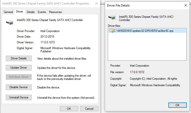 The Driver tab in SATA AHCI controller properties and the Driver Details window