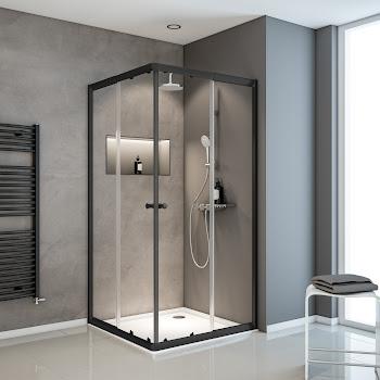 Accès d'angle avec portes coulissantes Vita-Sunny, 80-90 x 80-90 x 180 cm, extensible jusqu'à 12 cm, noir