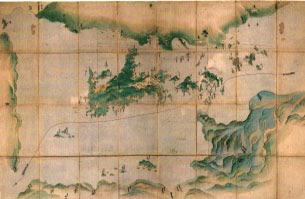 西国往還船路小豆嶋辺図、江戸初期写 濃彩 一舗