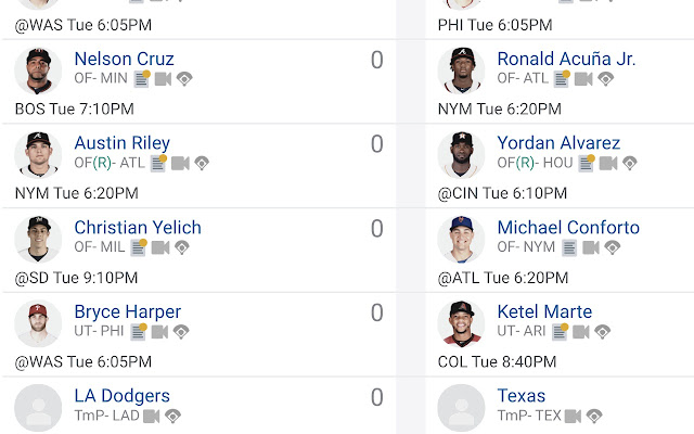 Fantrax Baseball Gameday Extension