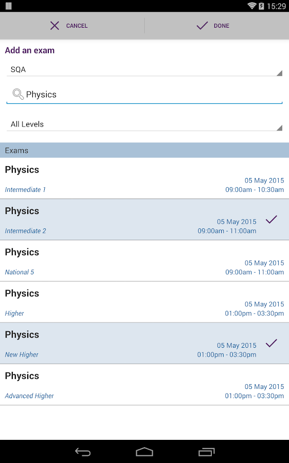 SQA My Exams- screenshot