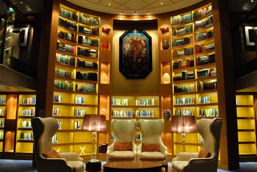 The library in the evening aboard Celebrity Eclipse.