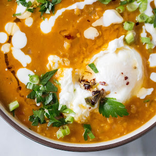 Lentil Soup with Poached Egg & Spiced Oil Drizzle.