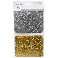 Project Life 3X4 Metal Cards 4/Pkg - Debossed UTGÅENDE