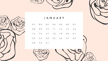 Flowery Monthly - Monthly Calendar template