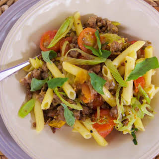 Pasta with Italian Sausage, Anise and Cherry Tomatoes.