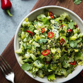 Sweet And Sour Celery Cilantro Salad.