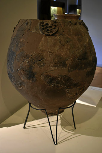 A Neolithic jar, possibly used for brewing wine from the site of Khramis Didi Gora south of Tbilisi, on display at the Georgian National Museum. Picture: REUTERS