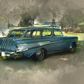 by Valerie Aebischer - Digital Art Things ( 1957 chevy nomad, chevy, chevy nomad, classic car, classic cars, nomad )