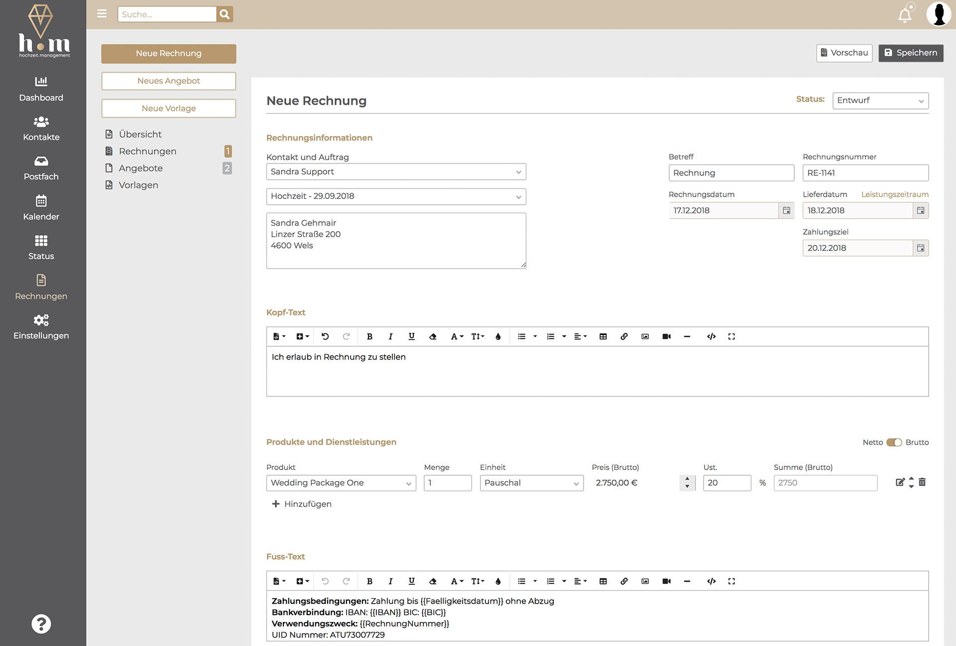 Hochzeit.Management Screenshot