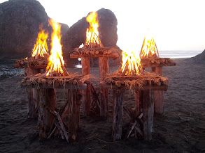 Photo: Each teepee fire was loaded with kindling a 3-4 fatwood sticks (all-natural). We then quickly ignited them all with a pair of propane torches.