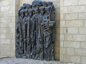Photo: A sculpture of Janus Korczak and his Polish orphanage children.  Janusz Korczak and the children of his orphanage were sent to the Treblinka death camp on August 5, 1942.