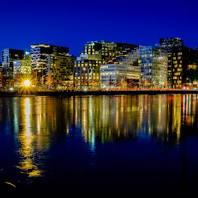 Oslo Barcode at night by Bjørn Kristiansen - Uncategorized All Uncategorized ( nightshot, oslo, speiling, barcode, nattbilde, long exposure )