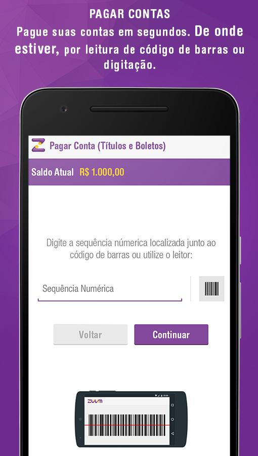 Zuum, conta digital tipo banco- screenshot