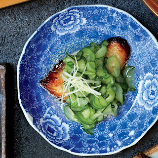Miso-Cured Black Cod with Chilled Cucumbers.