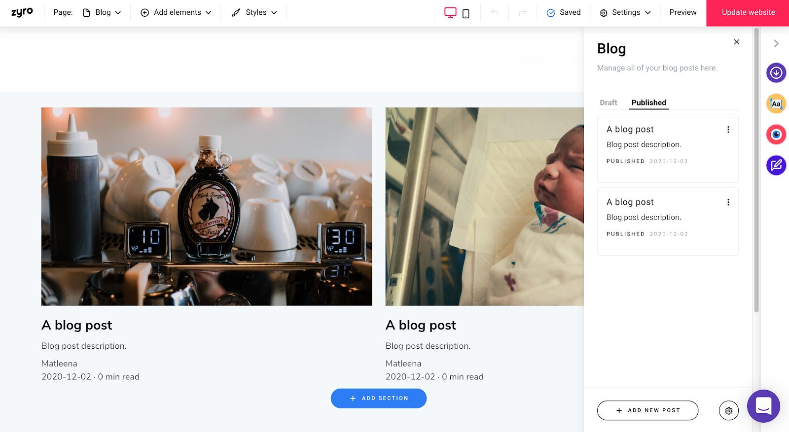 Zyro blog landing page