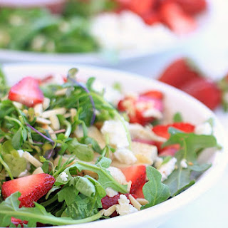 Strawberry Arugula Salad with Chicken, Goat Cheese, Almonds, and Strawberry Lemon Vinaigrette