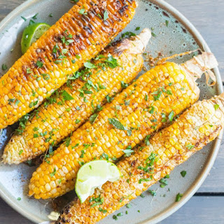 Grilled Corn on the Cob with Spicy Vegan Crema Sauce Recipe