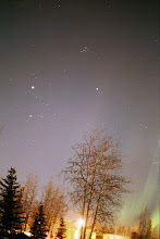 Photo: Taurus and Pleides seen from Alaska with a bit or aurora in the right corner.  For comparison with photos here.