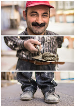 """Photo: Triptychs of Strangers #31: The contracted Bricklayer, Balat - Istanbul  About Istanbul Damn, i just love this place :-)  About this shot The coolest things about platforms like Flickr or G+ is not only to show your work to a greater audience, but also to connect to people. After my first visit in Istanbul six months back, I knew I'll have to come back soon. Knowing that I asked around if some locals wanted to participate in a photo walk. I was really happy that +Kurtcebe Kirecci and +Serap Sabah joined us for a whole day. Definitely the best """"blind date"""" I ever had.  I met our stranger while walking through a district called Fatih. Thanks to +pamela ross for giving me a heads-up on this character.  About this stranger Meet Sakir Cicek. He is 36 years old and another living prove that THEY are no isolated cases in Istanbul: bearded men.  Sakir told us that he is married to a beautiful wife and proud father of three girls and three boys. He also is almost vegetarian (thumbs up) and his favorite dish is rice, beans with yoghurt.  He loves wearing baseball hats. And if you have a closer look a his headshot, you might have asked yourself if he likes collecting golden coins.  60% of buildings in Istanbul are dilapidated. So being in construction like Sakir means there is a shitload of work to for probably the next 2-3 decades. But this guarantee of permanent work put him into the position to live in Istanbul in a shared apartment with ten colleagues.  While his wife and six children still live about 1200km away in a town called Erzürum. :-(  Who else can our strangers #31 be than """"The contracted Bricklayer"""""""