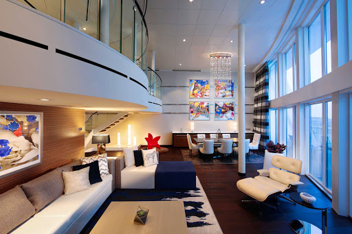 Harmony-of-the-Seas-Royal-Loft-Suite.jpg - At 1,600 square feet, the two-level Royal Loft Suite on Harmony of the Seas comes with concierge service, a baby grand piano, a huge balcony and lots of perks.