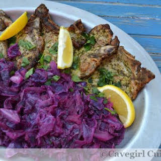 Lemon Parsley Pork Chops with Cabbage and Apples.