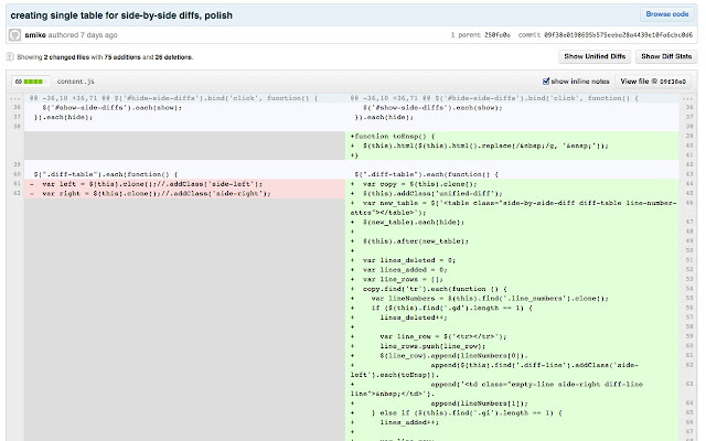 Side-by-side diff view in Github
