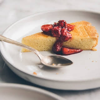 French Butter Cake with Black Pepper Strawberry Compote.