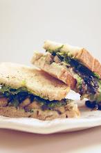 Photo: Name : Julia Mirabella Blog : My Food and Other Stuff Title: Portobello and Ricotta Sandwich with Arugula Pesto. URL of the post : http://www.myfoodandotherstuff.com/2012/12/arugula-pesto-pasta-sandwich-appetizer.html Location : Louisville, KY Camera : Nikon D50.