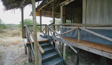 Photo: Closeup of tented cabin