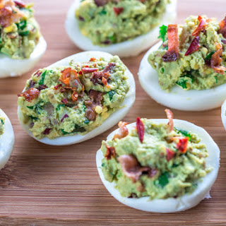 Smoky Bacon Avocado Deviled Eggs